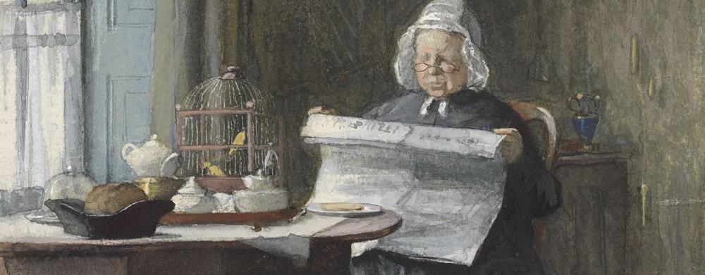 Interieur met een vrouw die de krant leest