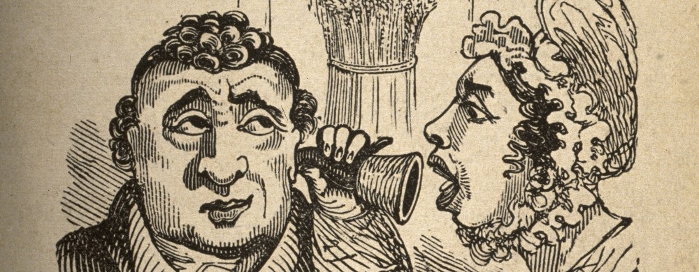 A woman shouting into a man's ear-trumpet. Wood engraving.