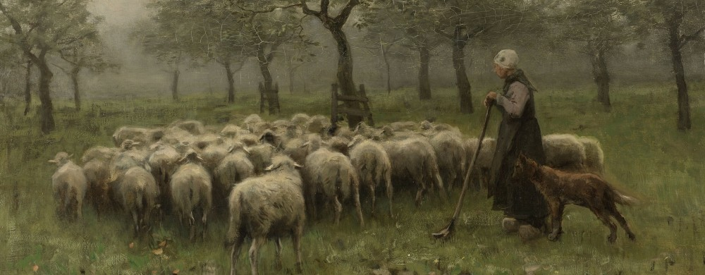 Shepherdess with a Flock of Sheep