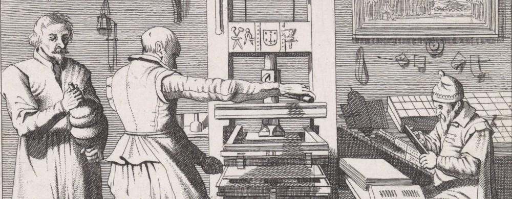 Figuren bij een drukpers