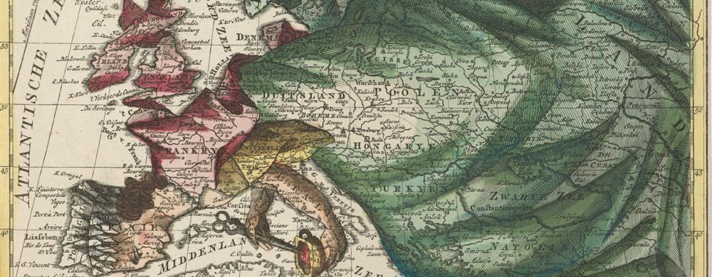 Kaart van Europa, ingekleurd als koningin and Europa volgens de nieuwste verdeeling