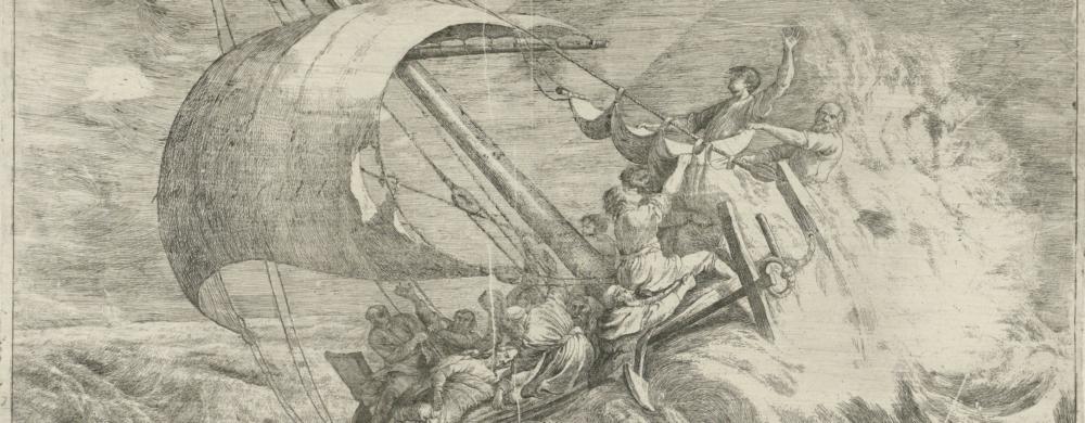 Christus slaapt aan boord van het schip tijdens de storm