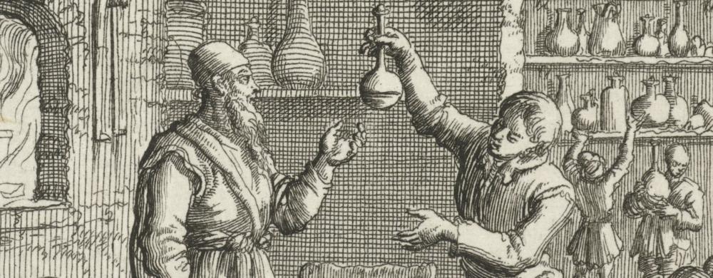 Figuren in een laboratorium, Jan Luyken, 1683