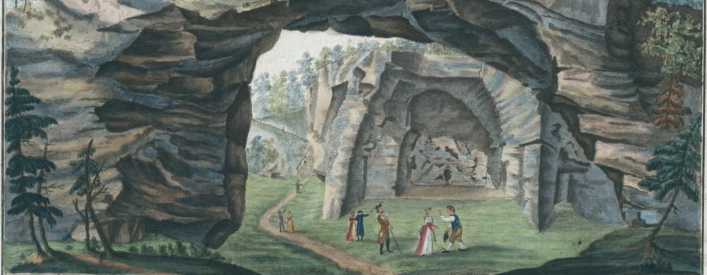 Vue du théatre taillé dans le roc, près du jardins de la maison de plaisance d'Hellenbrunn (!) pris du dehors.