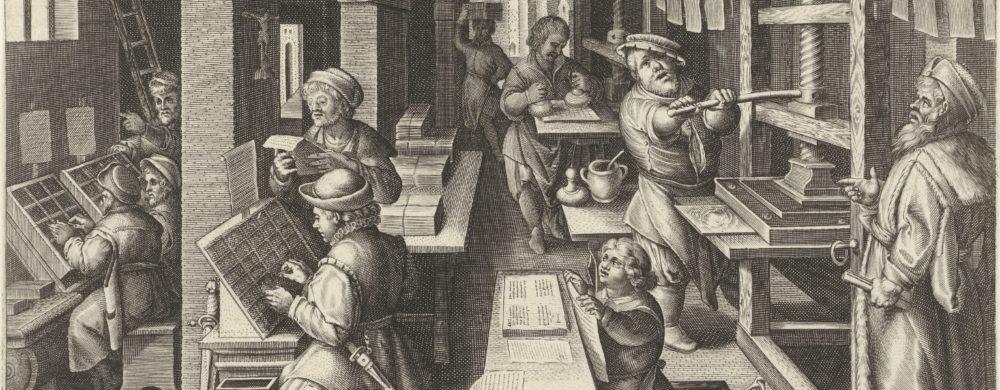 Boekdrukkunst, Philips Galle (attributed to workshop of), after Jan van der Straet, c. 1589 - c. 1593