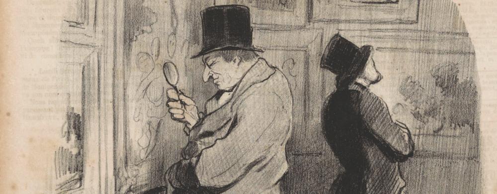 Man bekijkt een schilderij door een vergrootglas, Honoré Daumier, 1847