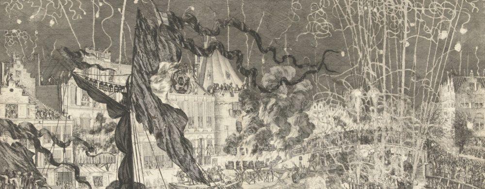 Vuurwerk ter ere van de kroning van Willem III en Maria II tot koning en koningin van Groot-Brittannië
