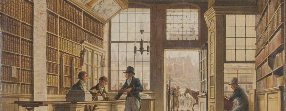 The Shop of the Bookdealer Pieter Meijer Warnars on the Vijgendam in Amsterdam