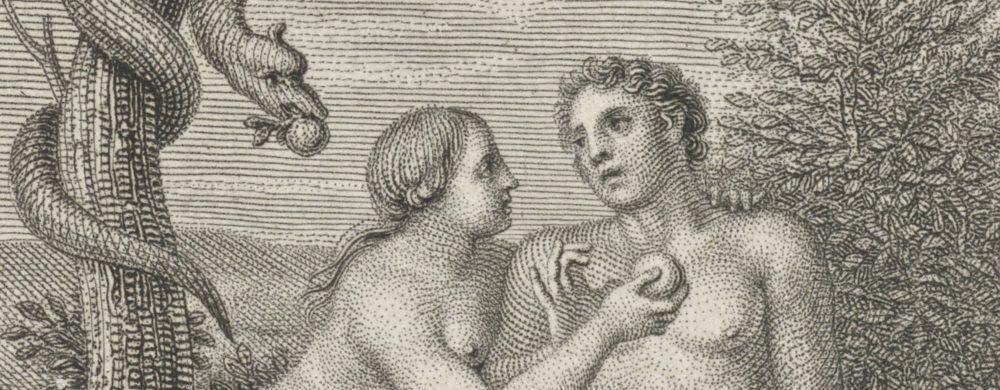 De verzoeking van Adam en Eva in het paradijs,