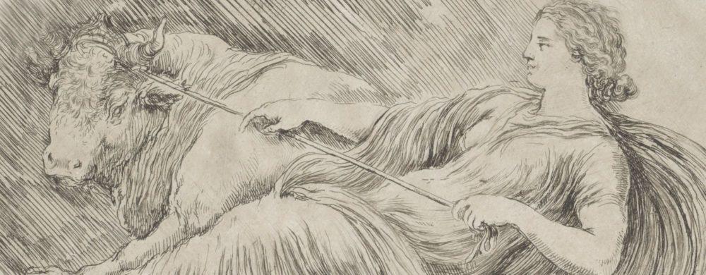 Vrouw die een stier tracht te bedwingen