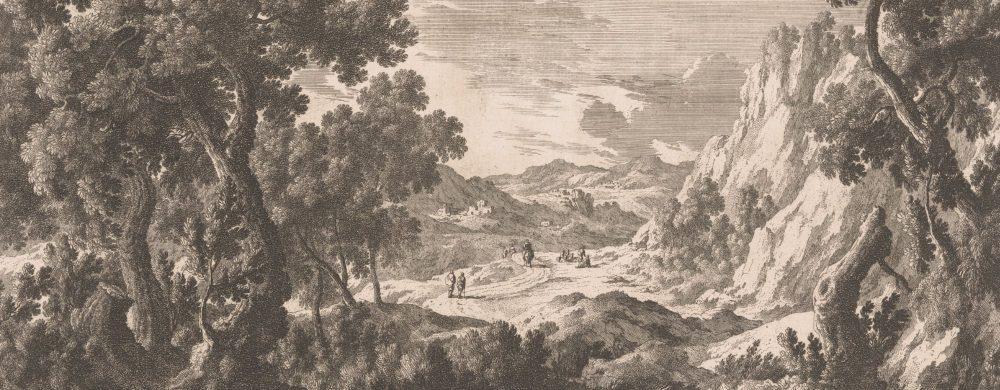 Berglandschap met mensen op een weg